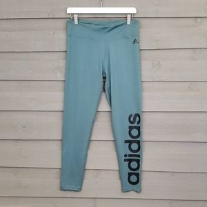 Adidas Green Leggings Tights Spell Out Logo (L)